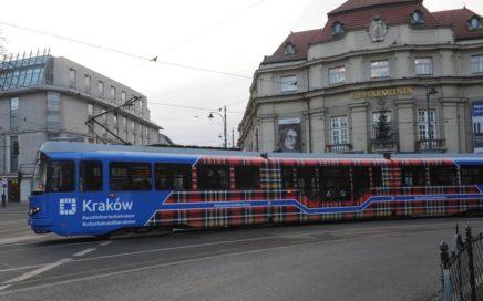 A tartan tram on the streets of Kraków